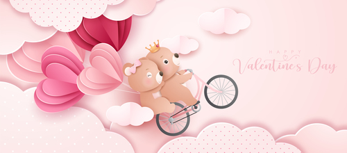 Bear couple Valentine's Day paper style greeting card vector