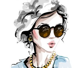 Beautiful lady watercolor painting vector