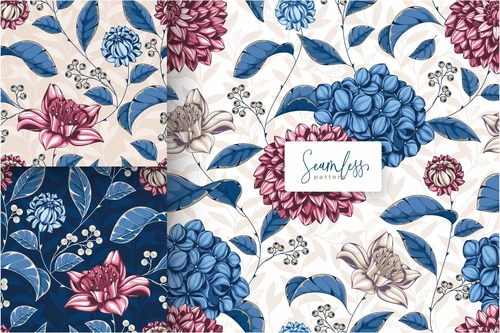 Beautiful red and blue floral pattern vector