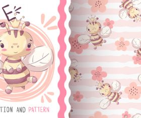 Bee cartoon vector seamless pattern