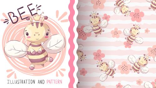 Bee cartoon vector seamless pattern