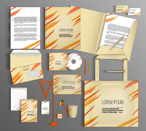 Beige and red cover corporate identity stationery collection vector