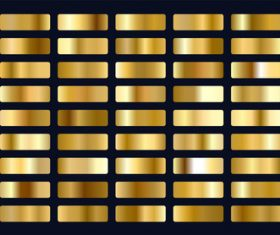 Big set of metallic gold gradients vector