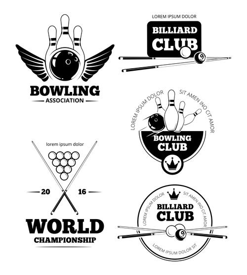 Billiards and bowling emblem vector