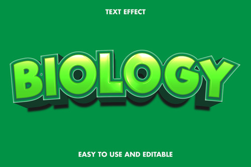 Biology 3d text style effect vector