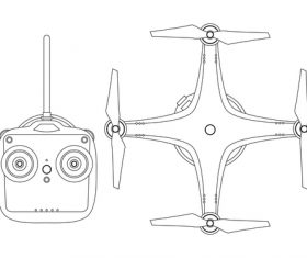 Black and white illustration drone vector