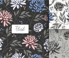Black and white tropical floral seamless pattern vector