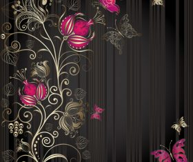 Black background flowers pattern vector