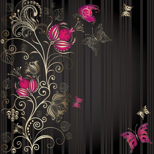 Black background flowers pattern vector