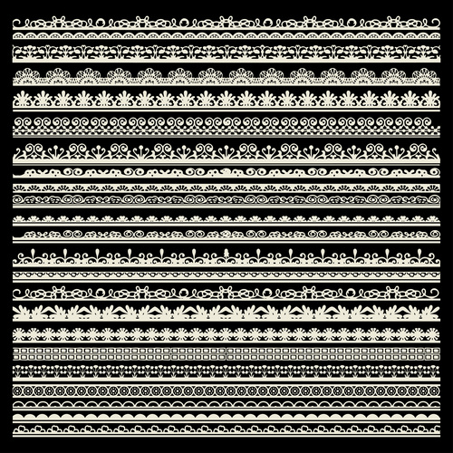 Black background white silhouette decorative pattern vector