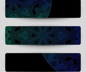 Black banners with blue geometric decoration vector