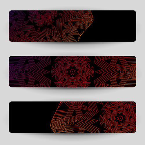 Black banners with geometric decoration vector