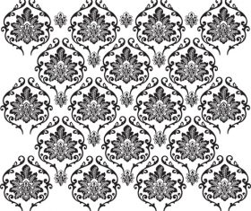 Black white flowers decoration vector background