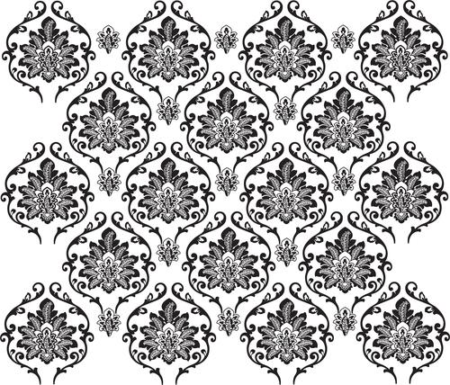Black white flowers decoration vector background