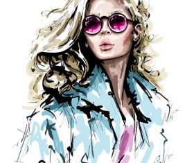 Blonde fashion girl watercolor painting vector