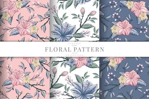 Blooming flowers seamless pattern vector