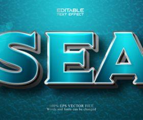 Blue 3d editable text style vector
