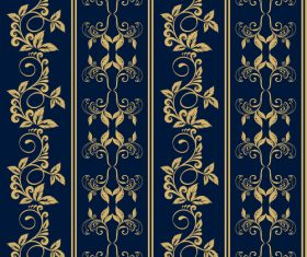 Blue background golden decorative pattern vector