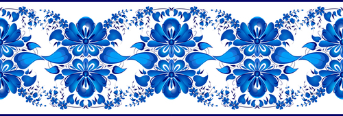 Blue flowers art deco pattern vector