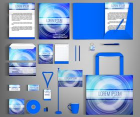 Blue gradient cover corporate stationery collection vector