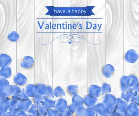 Blue petals valentine's day greeting card vector