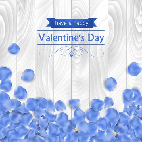 Blue petals valentines day greeting card vector