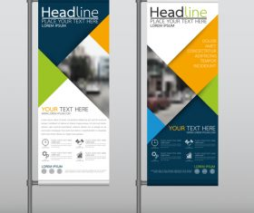 Blue yellow green business vertical banner vector