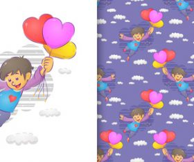Boy cartoon seamless background vector