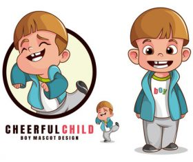 Boy mascot design logo vector