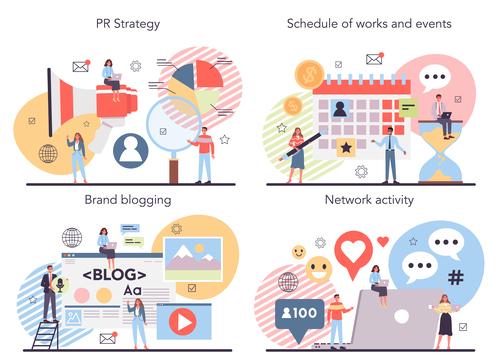 Brand blogging cartoon banner vector