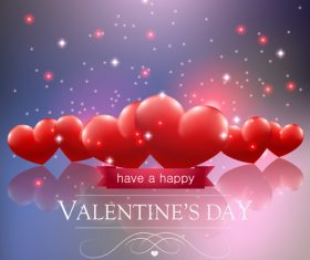 Bright heart-shaped background valentines day vector