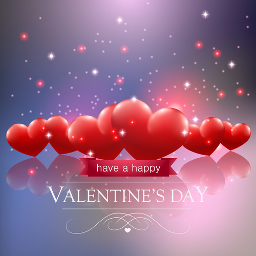 Bright heart shaped background valentines day vector