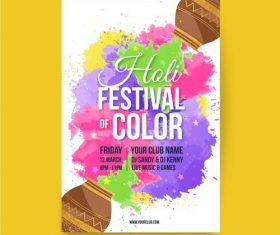 Bright holi festival poster vector