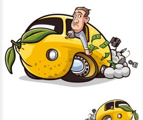 Broken lemon car illustration vector
