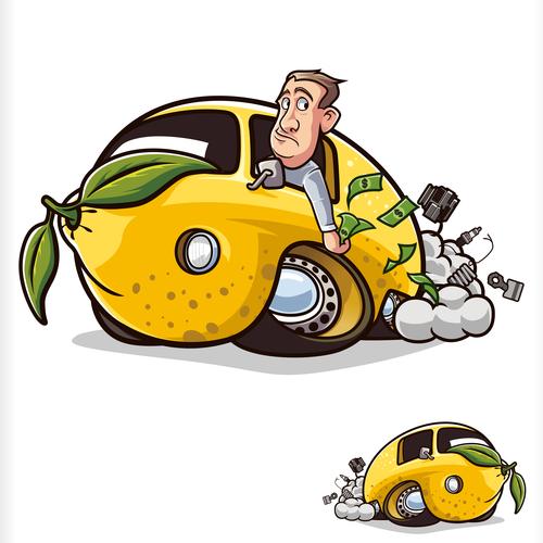Broken lemon car illustration vector