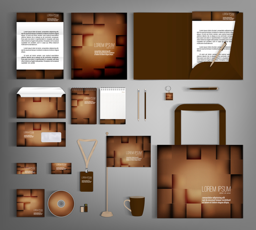 Brown gradient cover corporate stationery collection vector