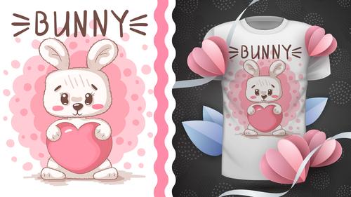 Bunny cartoon vector seamless pattern