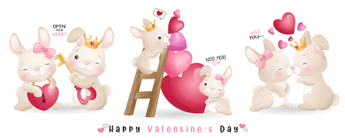 Bunny couple Valentines day theme greeting card vector