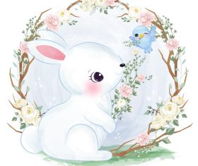 Bunny in flower frame vector