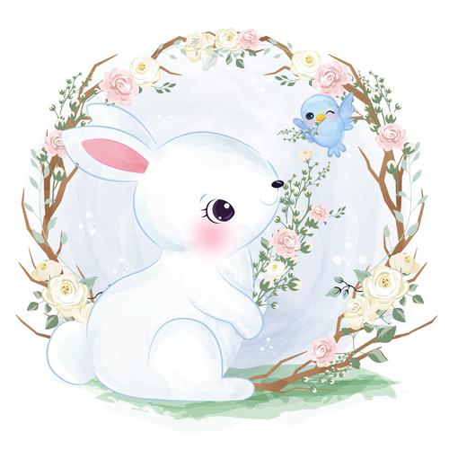 Bunny in flower frame vector