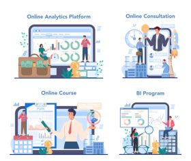 Business analyst online cartoon banner vector