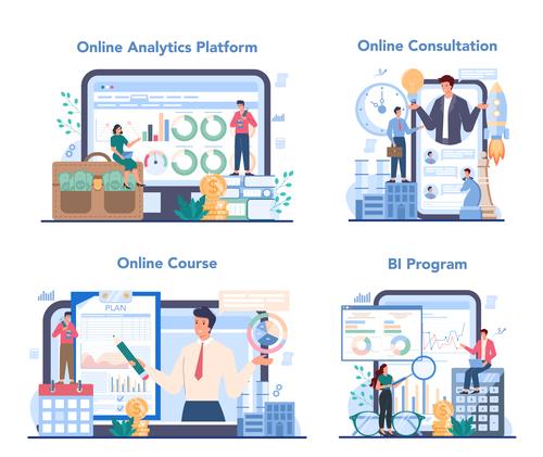 Business analyst online cartoon banner vector