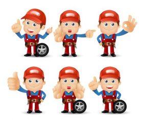 Car mechanic cartoon illustration vector