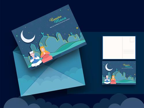 Cartoon cover ramadan mubarak greeting card vector