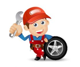 Cartoon repair tire illustration vector