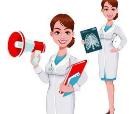 Cartoon young female doctor vector