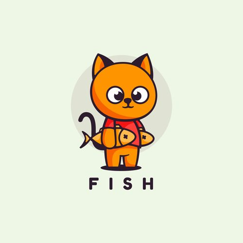 Cat cartoon vector catching fish