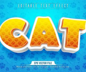 Cat text 3d yellow style text effect vector