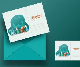 Celebration ramadan mubarak greeting card vector