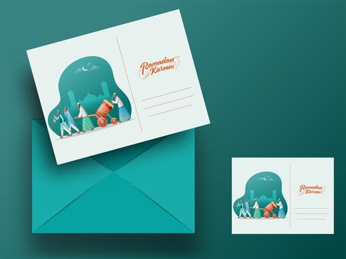 Celebration ramadan mubarak greeting card vector